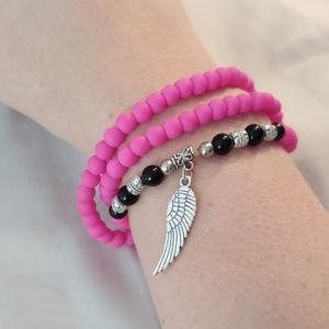 Neon pink stretchy Bracelet/Necklace